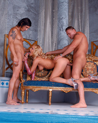 Sluty face blonde fucking two guys and gets facial cumshot