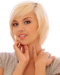 Blond pixie Emma Mae strips off her school clothes to get comfortable