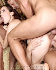 Pretty girl doesn't mind to suck and fuck three big dicks
