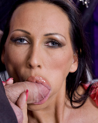 Elegant milf  Mandy Bright sucking and fucking two big cocks