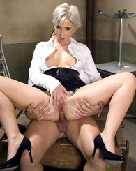 Office blond milf in high heels fucks a work colleague hard