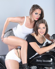 Brunette sluts Tori Black and Bobbi Star spreading and posing nude.