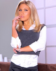 Sexy blond Aubrey Addams strips off all of her business suit