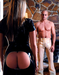 Naughty chick in tight latex fucks hard and plays with balls