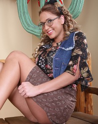 Alanah Rae poses as a studious yet slutty Andrea in this solo set