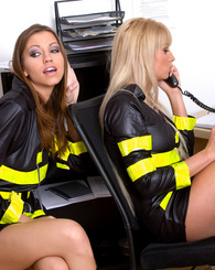 Sexiest firewomen are bored and start kissing and fucking