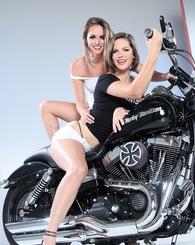 Brunette sluts Tori Black and Bobbi Star spreading and posing nude.