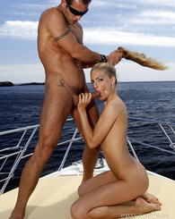 Blue eyes slim body gives blowjob and fucked on this boat